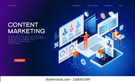 Technology concept. Content marketing strategy web banner. Marketing and sharing of digital content. Technology process of Software development