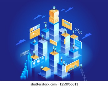 Technology concept of digital marketing and app development. People interacting with charts and analysing statistics. Data visualisation. 3d isometric vector illustration.
