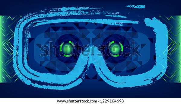 Technology Concept With Hud, Gui Design Elements. Head-up Display Monitor. Futuristic User Interface. Infographic Menu Ui For Vr. VR goggles. Hologram headset. Game glasses. Vector Illustration
