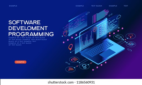 Technology concept. Programming web banner. Best programming languages. Technology process of Software development