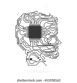 Technology concept represented by circuit board head icon. Isolated and flat illustration.