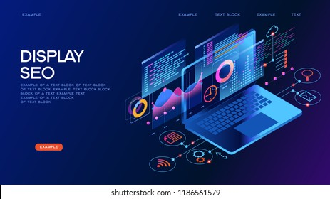 Technology concept. Workflow and business management. Display seo. 3D vector isometric illustration.