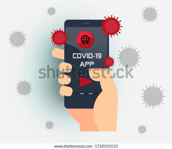 technology and corona virus. He says covid-19 App on his mobile phone. Smartphone and coronavirus. Coronavirus smartphone aplication .