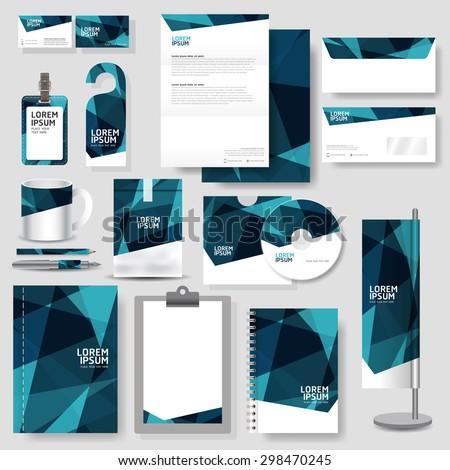 technology corporate identity template stationery design stock