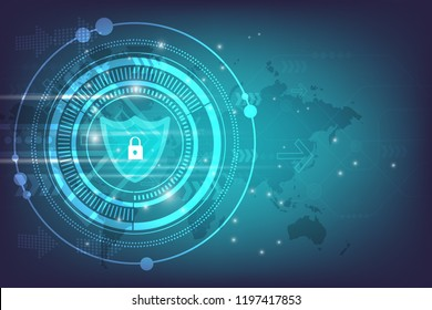 technology cyber protectine concept.digital security vector background.