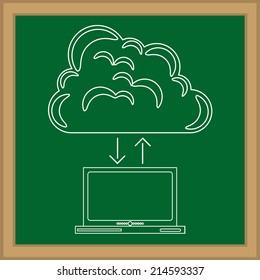 Technology design over blackboard background, vector illustration