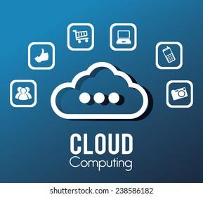 Technology design over blue background, vector illustration.