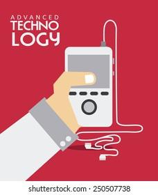 Technology design over red background, vector illustration.