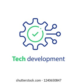 Technology development, cogwheel and check mark, innovation concept, system integration, software business, technical support, smart solution, vector line icon, linear illustration