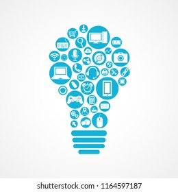 Technology devices icon in light bulb shape