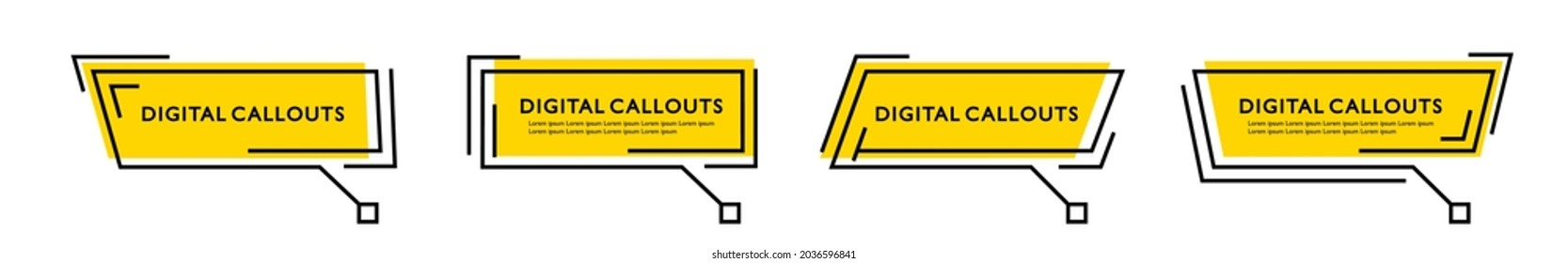 Technology digital callouts titles template. Callouts text boxes infographic template. Quote in digital frames on yellow background. Vector illustration.