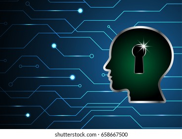 technology digital future abstract, cyber security concept background, human head keyhole lock circuit, vector illustration.