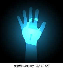 technology digital future abstract, cyber security concept background, blue light hand lock, vector illustration.