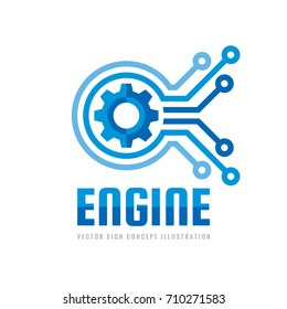 Technology engine - vector logo template concept illustration. Abstract creative sign. Internet tech SEO icon . Design element.