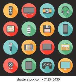 Technology flat design icons set