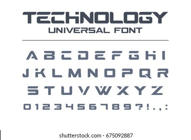 Technology font. Geometric, sport, futuristic, future techno alphabet. Letters and numbers for military, industrial, hi-tech logo design. Modern minimalistic vector typeface