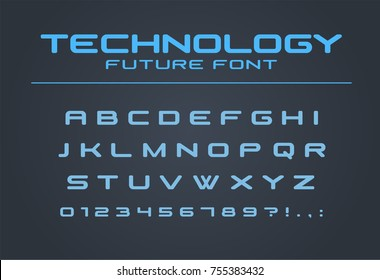 Technology font. Geometric, sport, futuristic, future alphabet. Cool letters and numbers for military, industrial, hi-tech logo design. Modern minimalistic vector abc typeface