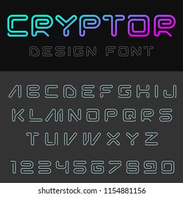 Technology Font Linear style vector design. Useful for Blockchain Cryptocurrency Logo Virtual Reality VR Internet of Things IOT Robot Web themes.