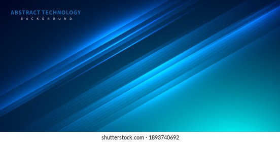 Technology futuristic background striped lines with light effect on blue background. Space for text. Vector illustration