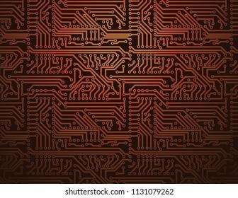 Technology futuristic background. Vector orange circuit board.