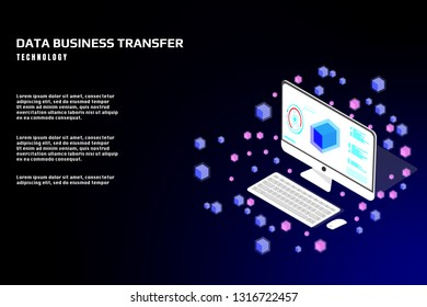 Technology futuristic desktop data security protection transfer. Abstract sci fi isometric elements design for UI business app