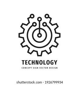 Technology gear concept business logo template design. Cogwheel mechanic sign. Computer network SEO icon. Search engine optimization. Line style. Graphic design element. Vector illustration