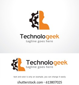 Technology Geek Logo Template Design Vector, Emblem, Design Concept, Creative Symbol, Icon