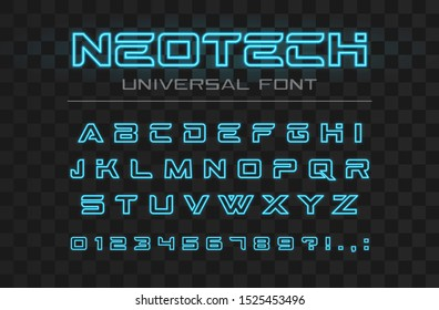 Technology glowing font. Fast sport, futuristic, future tech alphabet. Neon letters and numbers for high speed, techno industrial, hi-tech logo design. Modern minimalistic vector abc typeface