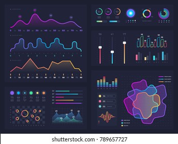 Technology graphics and diagram with options and workflow charts. Vector presentation infographic elements. Digital screen graphic and virtual interface diagram illustration
