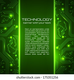 Technology green circuit board illustration. Business background.