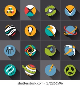 Technology and green energy web sphere Icons set and vector logos