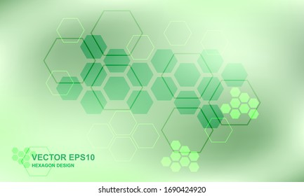 Technology green hexagon medical concept background. Futuristic modern hi-tech background for digital technology, research, science, health and innovation medicine. Vector illustration EPS10.