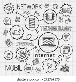 Technology hand draw integrated icons set. Vector sketch infographic illustration. Line connected doodle hatch pictogram on paper: computer, digital, network, business, internet, media, mobile concept