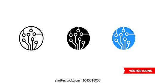 Technology icon of 3 types: color, black and white, outline. Isolated vector sign symbol.