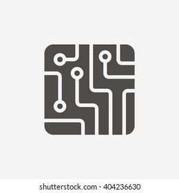 Technology icon. Circuit board scheme square symbol. Flat icon on white background. Vector