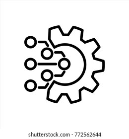 Technology Icon. Gear and Electronic. Digital Factory Symbol. Flat Line Pictogram.