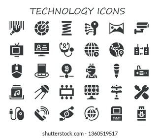 technology icon set. 30 filled technology icons.  Simple modern icons about  - Barcode, Color, Spring, Electronic key, panorama 360 , Cctv, Tv, Monitor, Stethoscope, World, Globe