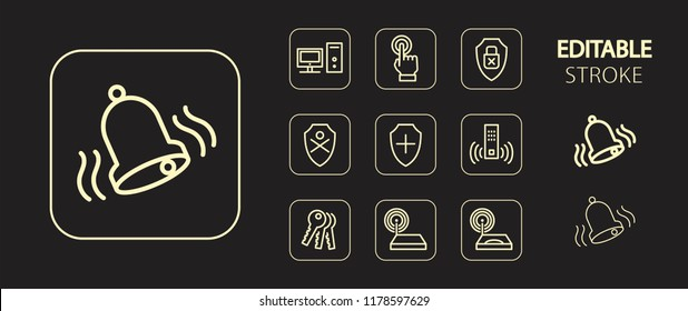 Technology icon set. Cyber security, private and computer protection buttons. Golden simple outline web icons. Editable stroke. Vector illustration.