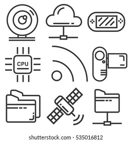 Technology icon set, line design for business
