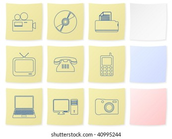 Technology icon set on a white background. Vector illustration.