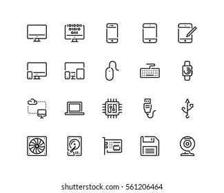 Technology icon set, outline style