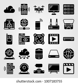 Technology icon set vector. server, cooler, cellphone and movie player
