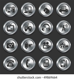 Technology Icons on Internet Buttons Original Vector Illustration