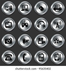 Technology Icons on Metallic Button Collection Original Illustration