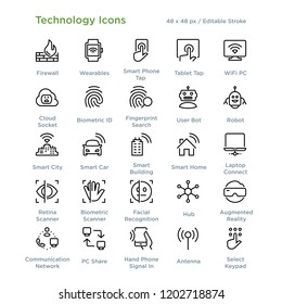 Technology Icons - Outline styled icons, designed to 48 x 48 pixel grid. Editable stroke.