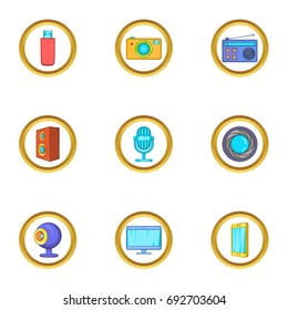 Technology icons set. Cartoon set of 9 technology vector icons for web isolated on white background