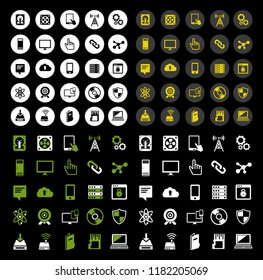 technology icons set Computer, Network devices and connections