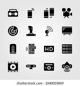 Technology icons set. Vector illustration joystick, music player, webcam and server