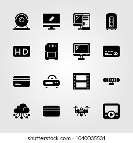 Technology icons set. Vector illustration drone, cloud computing, sd card and credit card