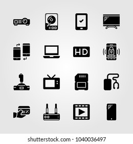 Technology icons set. Vector illustration sd card, joystick, television and smartphone
